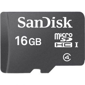 כרטיס זיכרון microSD של חברת SanDisk בנפח 16Gb