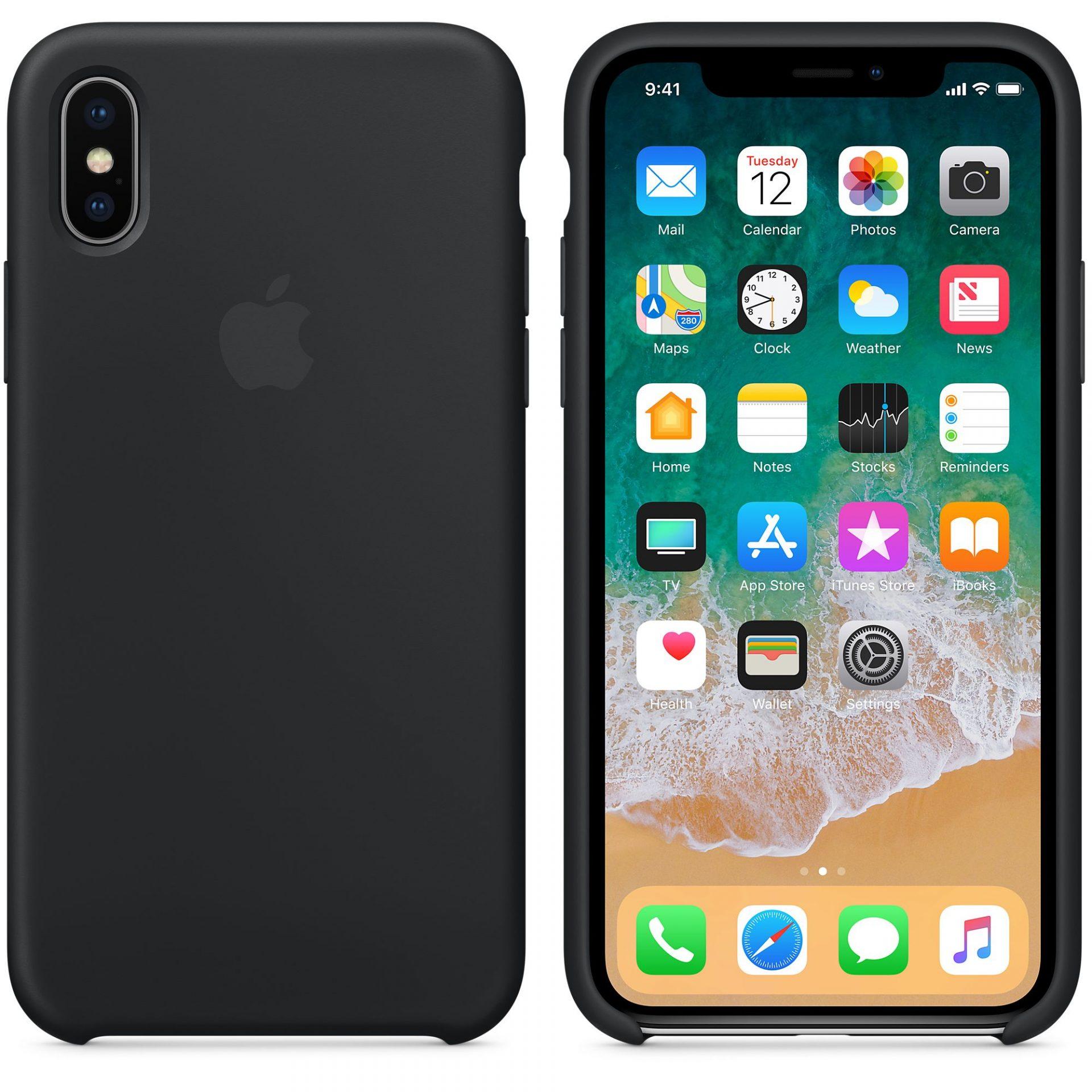 כיסוי מקורי של אפל לאייפון iPhone X Silicone Case-Black x